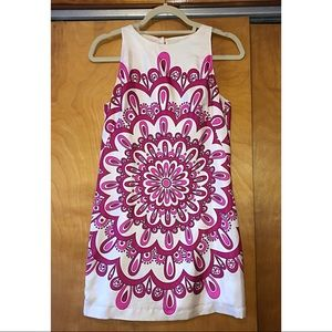 Venus Patterned Pink and White Dress